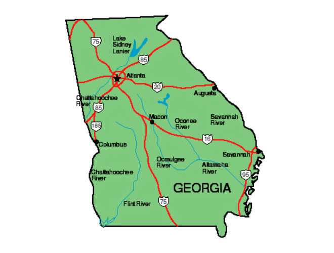 Map Of The State Of Georgia.Georgia Facts Symbols Famous People Tourist Attractions