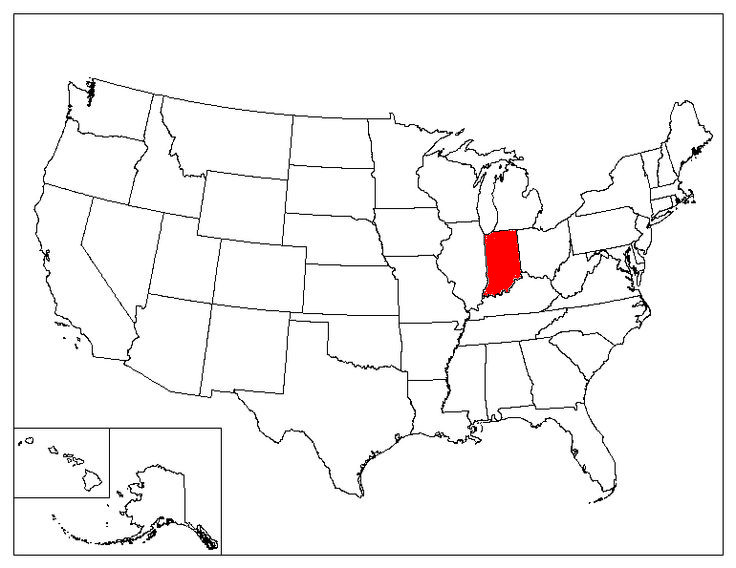 Indiana On A Us Map Indiana Location In The Us Indiana State Map - Indiana map us