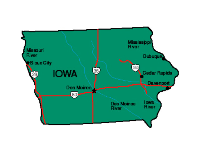 State Of Iowa Map With Cities.Iowa Facts Symbols Famous People Tourist Attractions