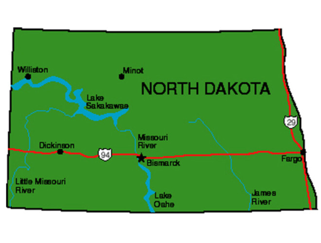 North Dakota State Map North Dakota Facts   Symbols, Famous People, Tourist Attractions