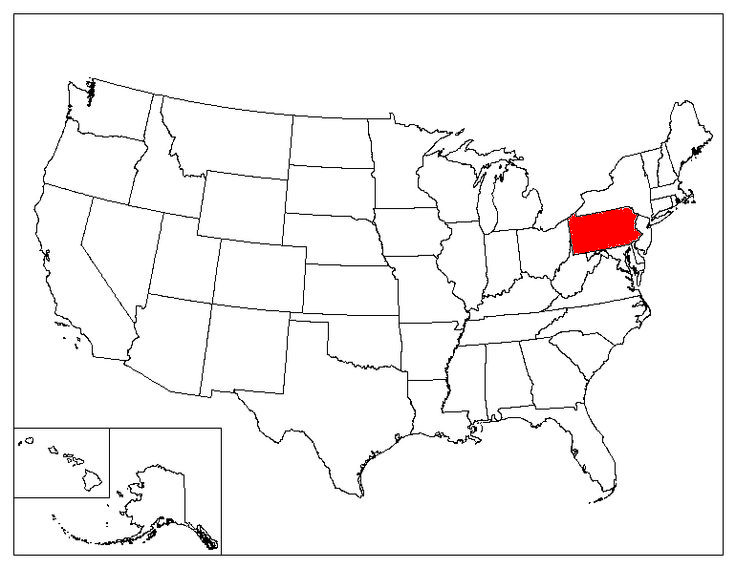 Pennsylvania Location In The US