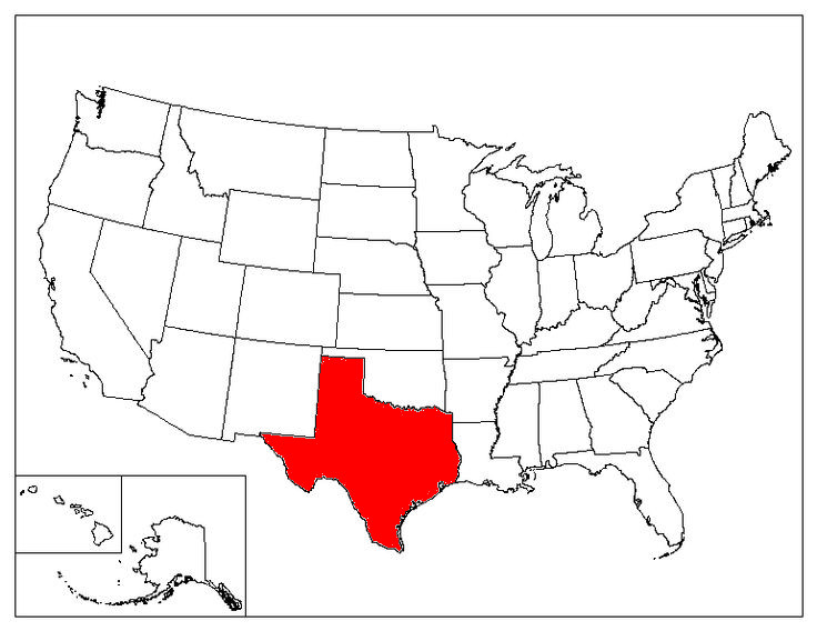Texas Location In The US
