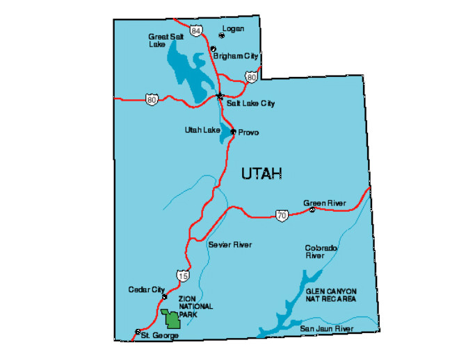 Utah Facts Symbols Famous People Tourist Attractions - Utah state map