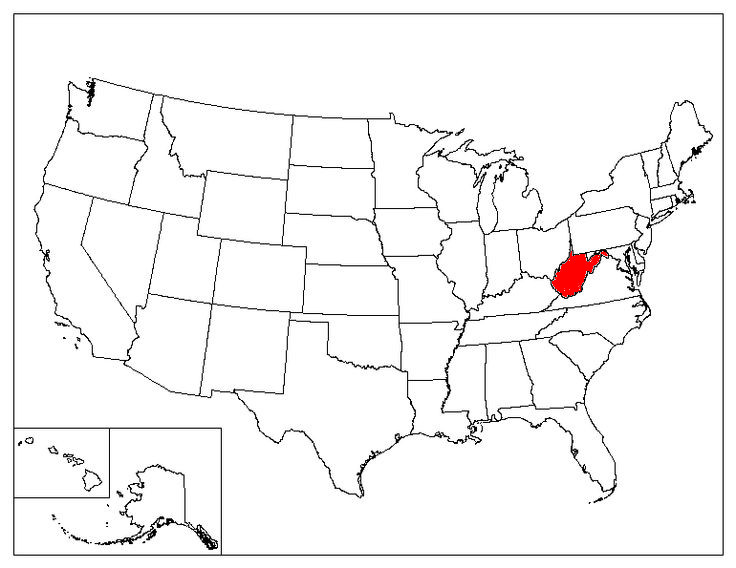 West Virginia Facts Symbols Famous People Tourist Attractions - West virginia on a map of the us